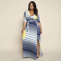 Large Size 4XL 5XL 6XL Women Autumn Maxi Dress Sexy V Neck Side Split Printed Wrap