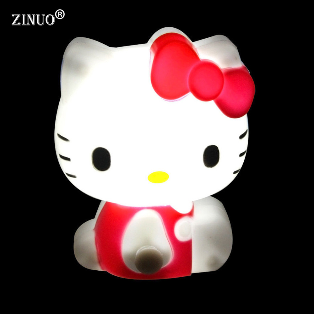 ZINUO Hello Kitty LED Night Light AC110V / 220V Baby Bedroom Lamp Red/Green/Pink Color EU/US Plug Night Lamp For Kids/Children b top baymax cartoon night light lamp 110v 220v us eu plug baby room led energy saving lamp kids light bedside lamp lighting