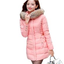 2016 Latest Winter Fashion Women Down jacket Sweet Hooded Thicken Super warm Medium long Coat Leisure Slim Big yards Coat NZ13