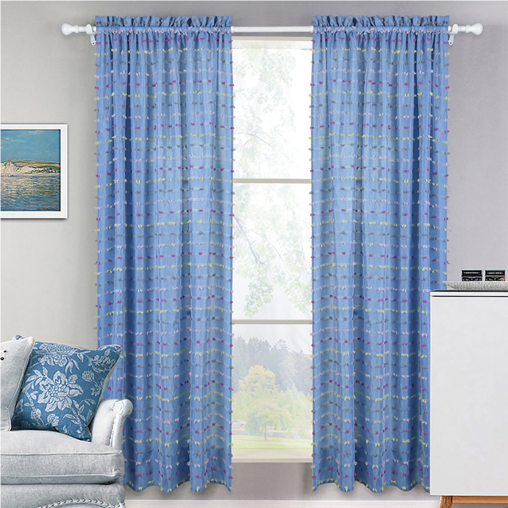 Rags Decorative Window Tulle Curtains Stripes Jacquard Transparent ...