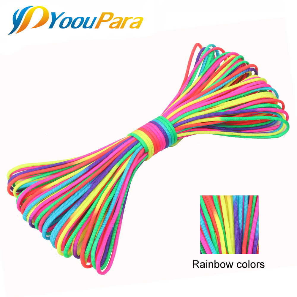 YoouPara 100FT Rainbow Paracord 4mm Nylom 7 Stands 550 Rope Outdoor Climbing Camping Tent Bracelet Cuerda Escalada Cord