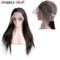 Sparkle Diva Indian Remy Straight Human Hair 360 Lace Frontal Wigs Pre Plucked With Baby Hair Glueless Shedding Free No Tangle