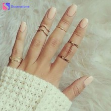 susenstone 6pcs / Set Boho Vintage Punk Finger Rings For Women Bohemian Ring Set Jewelry Party Rings Femme Gifts 2017 New #0601(China)