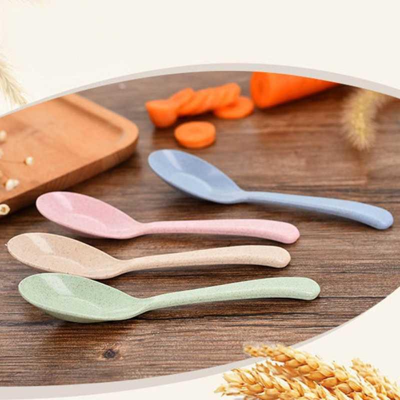 Cuchara de bebé paja de trigo Natural arroz alimentación niños vajilla resistencia al calor ZT