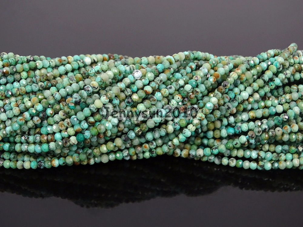 Grade AAA Brilliant Cut Shining Natural Tur-quise Gems Stones 2mm Faceted Round Beads 15 Jewelry Making 2 Strands/PackGrade AAA Brilliant Cut Shining Natural Tur-quise Gems Stones 2mm Faceted Round Beads 15 Jewelry Making 2 Strands/Pack