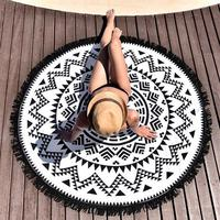 Women Summer Fashion Circle Pashmina Tassel Beach Towel Cape Sunblock Cover Up Casual Smock Black Rose
