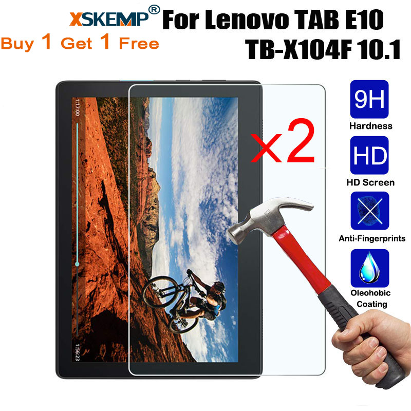 XSKEMP 2Pcs/Lot For Lenovo TAB E10 / P10 / M10 10.1 Inch Anti-Scratch Ultra Thin Tempered Glass Screen Protector Protective Film