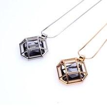 Octagon Rhinestone Cage Necklace