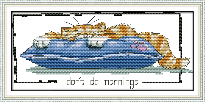 Little lazy cat, counted printed on fabric DMC 14CT 11CT Cross Stitch kits,embroidery needlework Sets, Home Decor