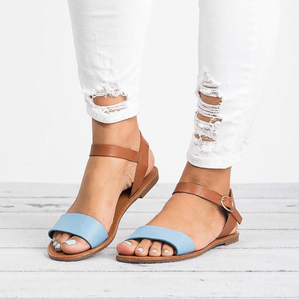 HTB1XbBsQCzqK1RjSZFjq6zlCFXap SAGACE Women's Sandals Solid Color PU Leather Sandals Women Fashion Style Flat Summer Women Shoes Women Shoes 2019 Sandals 41018