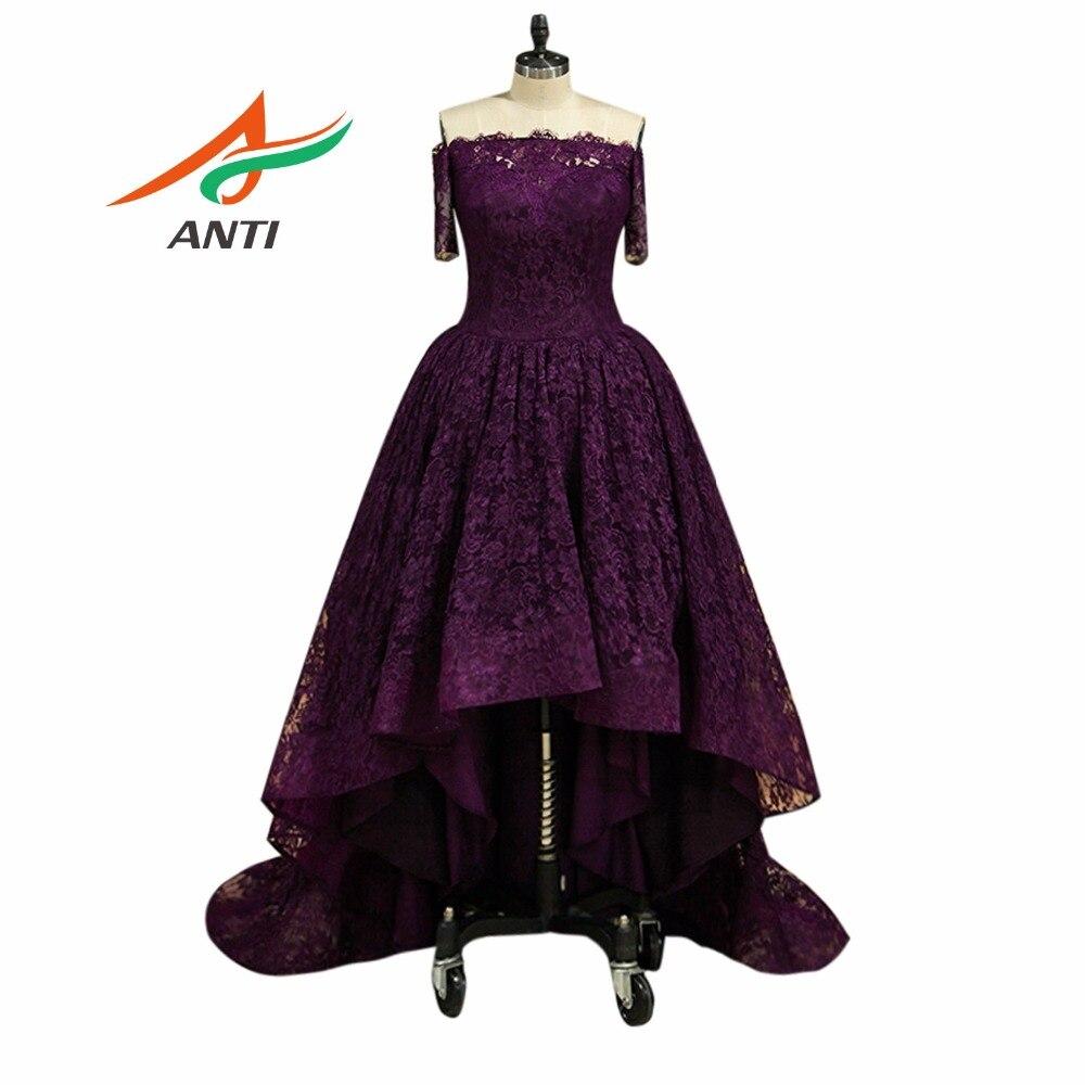ANTI 2019 Cheap Purple Cocktail Dresses Celebrity Lace Short Vestidos De Coctel Party Prom Gowns Knee Length Robe cocktail