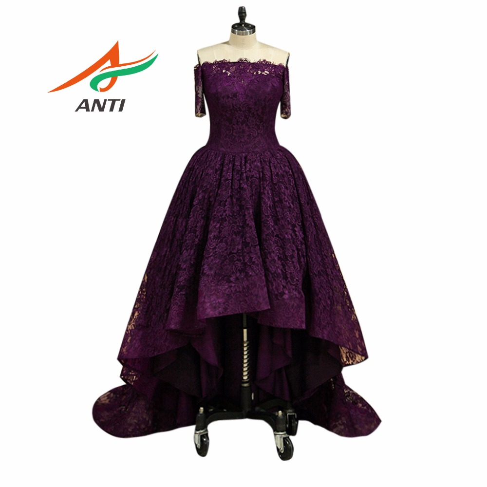 ANTI 2019 Cheap Purple   Cocktail     Dresses   Celebrity Lace Short Vestidos De Coctel Party Prom Gowns Knee Length Robe   cocktail