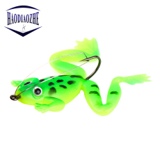 Купить с кэшбэком 4Pcs Frog Fishing Lure 5.5cm 4.5g Silicone With Hook Baits Rubber Floating Wobblers Artificial CrankBait Soft Fishing Tackle
