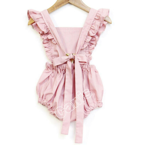Summer Casual Solid Pink Infant Baby Girl Solid Ruffle Romper Bodysuit Jumpsuit Clothes Outfits