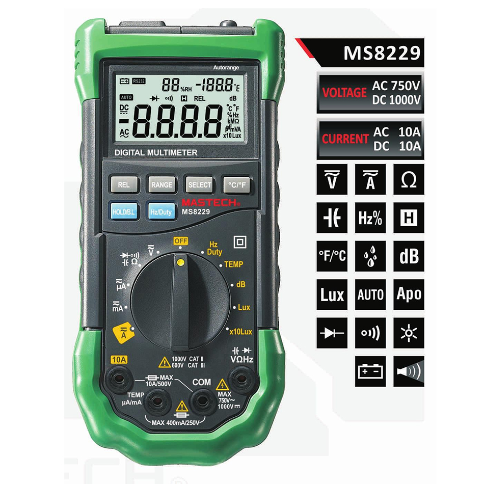 Mastech MS8229 Auto-Range Digital Multimeter With Multi-function Lux Sound Level Temperature Humidity Tester Meter digital indoor air quality carbon dioxide meter temperature rh humidity twa stel display 99 points made in taiwan co2 monitor