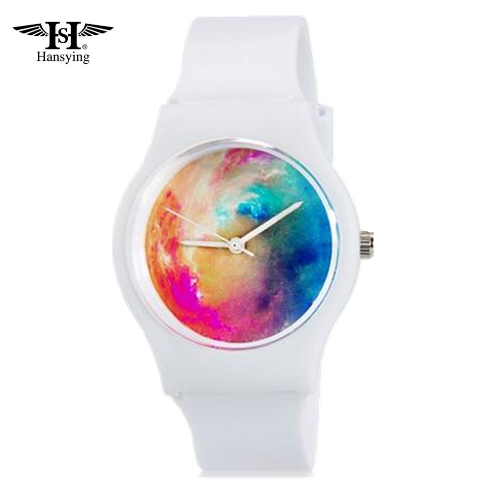 Hansying White Mini Student's Kid's Cloud's Colours Colours Retë Analog Quartz Wrist Watch