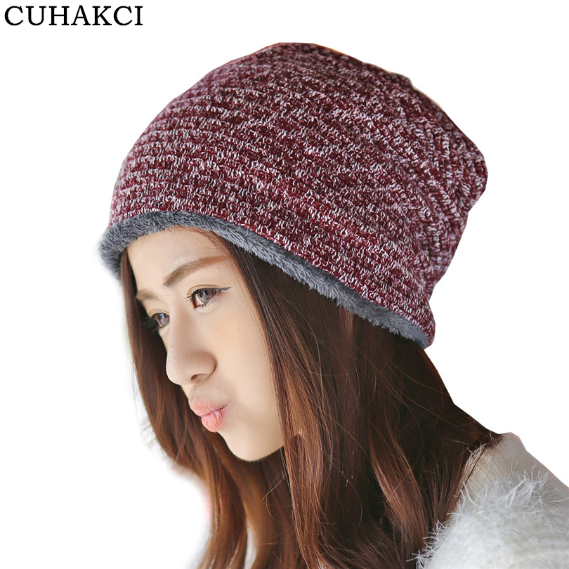 CUHAKCI Winter Beanies Warm Cap Women Hats 2017 Wool Thick Beanie Casual Knitted Hat Ski Skullies & Beanies Female M083 fibonacci winter hat knitted wool beanies skullies casual outdoor ski caps high quality thick solid warm hats for women