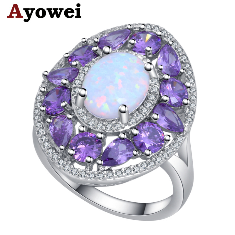 Ayowei simple style 925 silver stamped white opal purple