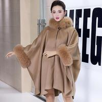 Top quality real cashmere with genuine fox fur trim poncho cape for women fashionable loose pashmina female
