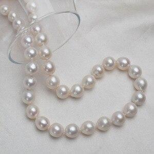 Image 4 - ASHIQI 10 12mm duża naturalna perła słodkowodna naszyjnik dla kobiet prawdziwa 925 Sterling srebrna zapinka biała okrągła perła biżuteria prezent