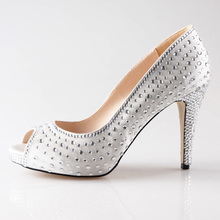 Handmade white ivory satin shoes with clear rhinestones peep open toe heels for bridal wedding dress shoes pumps dancing shoes