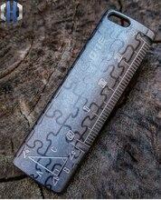 EDC Grating Ruler Measurement Titanium Metal Multi-function Drawing Geometry Tool Mini Portable