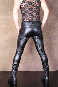 Image 2 - PU Faux Leather Punk Pants Elastic Tight Trousers Erotic Lingerie Fad Open Crotch Leggings Men Plus Size Look Slim Pencil Pants