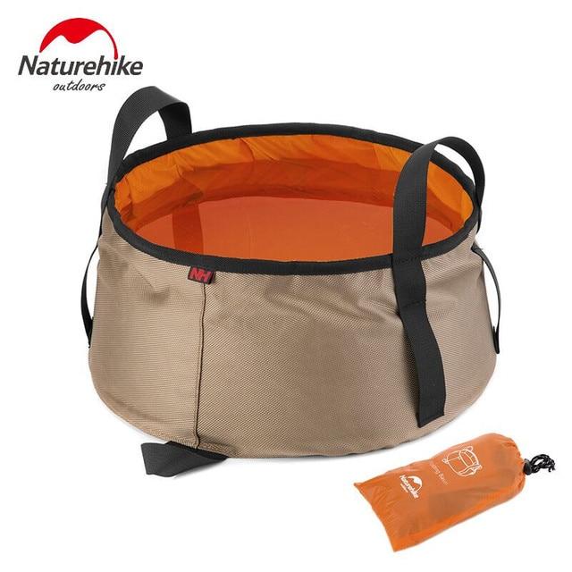 NatureHike 10L Ultralight Outdoor Nylon Folding Water Washbasin Portable Wash Bag Foot Bath Camping Equipment outodor tool