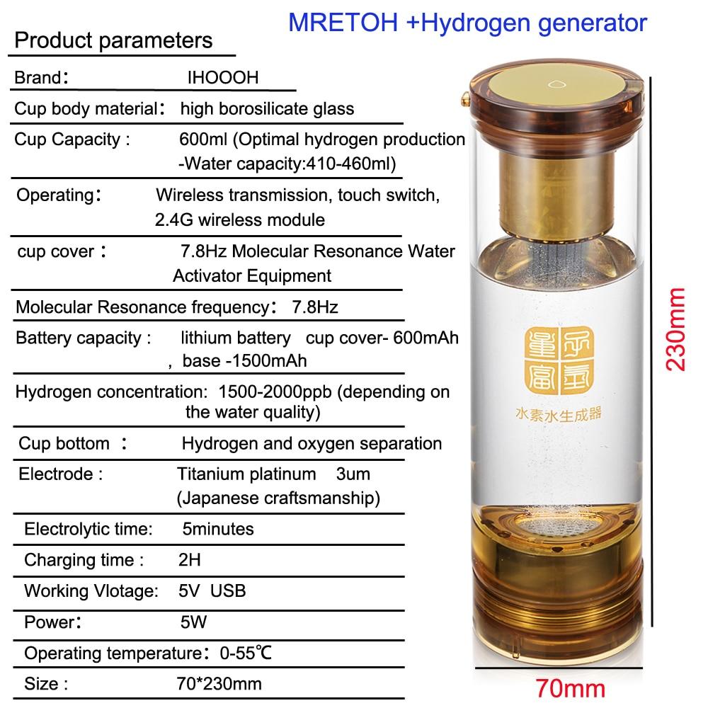 MRETOH Molecular Resonance Effect Technology and Hydrogen-oxygen electrolysis H2 water generator Hydrogen Rich cup