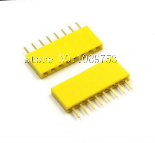 50Pcs Yellow 2.54mm 8pin 8p Dip Single Row Female Pin Header Connector For Arduino 50pcs lot cd4072be cd4072 dip 14 new origina