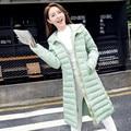 Мода толщиной вниз хлопка с капюшоном куртки Тонкий 2016 зимнее пальто модели взрыва корейских женщин длинный участок