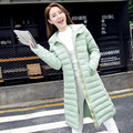 Moda gruesa abajo chaqueta con capucha de algodón Delgado 2016 abrigo de invierno modelos de explosión de Corea sección larga femenina