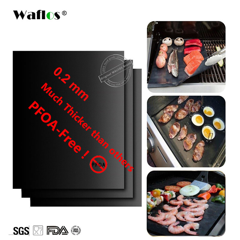 WALFOS BBQ mat 0.2mm Grueso ptfe Barbacoa Grill Mat antiadherente Reutilizable BBQ parrilla esteras hoja de la parrilla papel de aluminio barbacoa