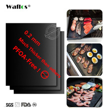WALFOS 3pc teflon Extra thick heat resistant BBQ Grill Mat Reusable non-stick barbecue grilling sheet liner bbq mat tools