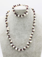 one set freshwater pearl white baroque red garnet necklace bracelet 19inch FPPJ wholesale beads nature(China)