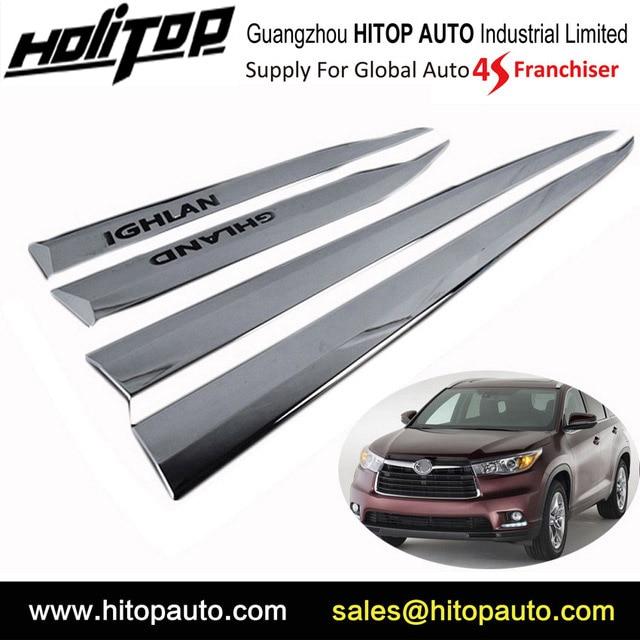ABS chrome body side moulures porte moulage, corps garniture pour Toyota Kluger Highlander 2015 2016 2017 2018 de cinq années SUV fournisseur sûr