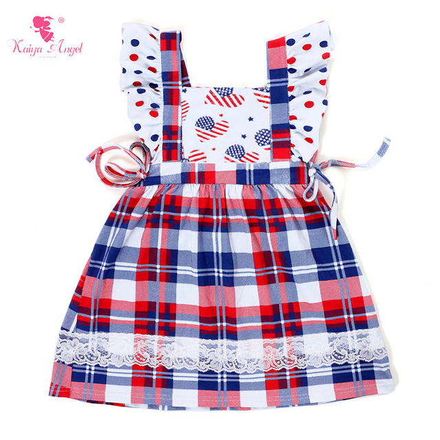 48f32bf3ba3 Kaiya Angel 2017 Patriotic Day Baby Girls Dress Red And blue Dot Lattice  Lace Size 9M-8T Free shipping
