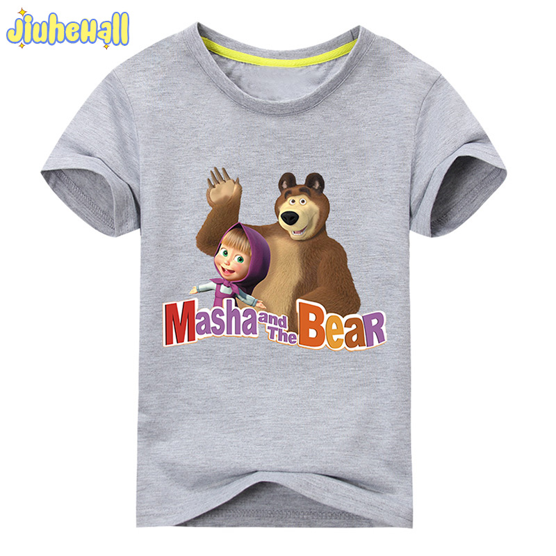 2017 Baby Cartoon Bear Printing T-Shirt Clothes For Girl Short Sleeve Cotton T shirt Children Summer Tee Tops Costume ACY101 2017 baby new batman printing clothes boy cartoon t shirt girl 9 colors t shirt children short sleeve tee tops for kids acy031