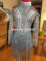 С длинным рукавом Silver блестки кисточкой боди Для женщин вечерние костюм для певицы купальник этап носить Пром вышивка тела костюм