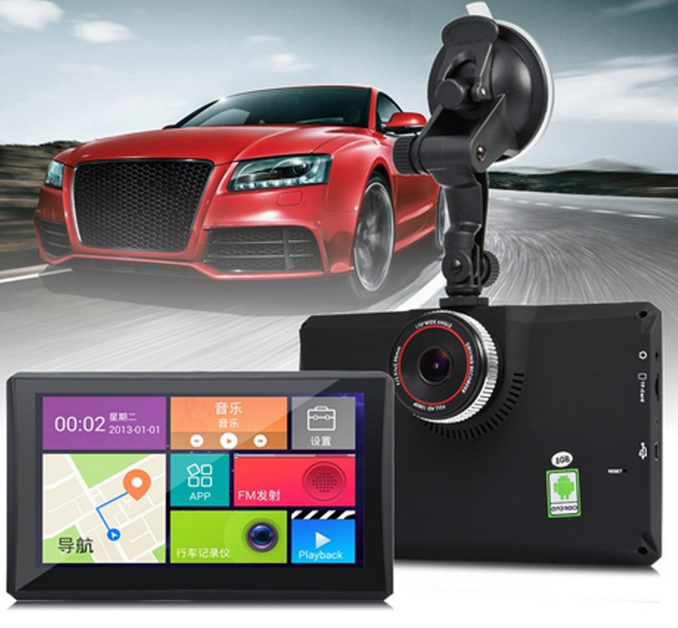 7 inch Android 4.4 Vehicle Bluetooth GPS Navigation Car DVR Camera Recorder With FM WIFI 8GB 512MB Truck Navigator Native Free Map -0