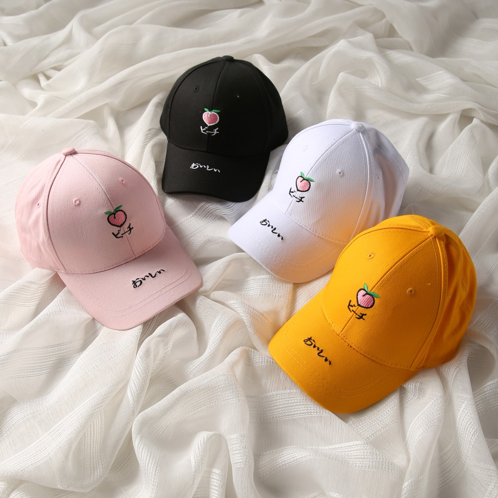 2018 Women Baseball Cap Dad Hat Men Rapper Hip Hop Caps Casual Cotton  Snapback Embroidery Fruit Peach Unisex Hats bone gorras 35c3b54f4f4
