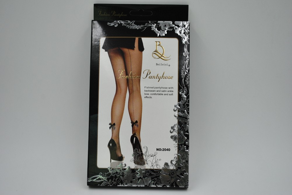 Women's Sexy Backseam Fishnet Pantyhose, Thigh High With Bows Hosiery 2