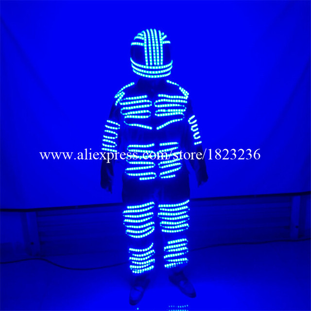 2 Sets Colorful Led Luminous Robot Suit LED Illuminated Ballroom Costume With Helmet Stage Props Performance Clothes For Party