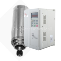 Water cooled spindle motor for cnc router with 3kw power,220V/380V,D100mm with 4 bearings & 3.7kw VFD Inverter