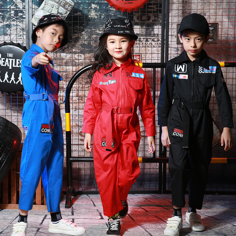 New Kids Hip-Hop Dance Costume Child Modern Dancing Coverall Boy Girls Jazz Dance Wear For Stage Jumpsuits Street Outfits 90