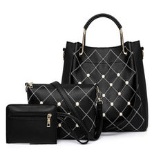 Women Bags Sets 3 Piece Handbag PU Leather Pearl Female Shoulder Bag Ladies Messenger Totes Casual Brand Women Hand Bag(China)