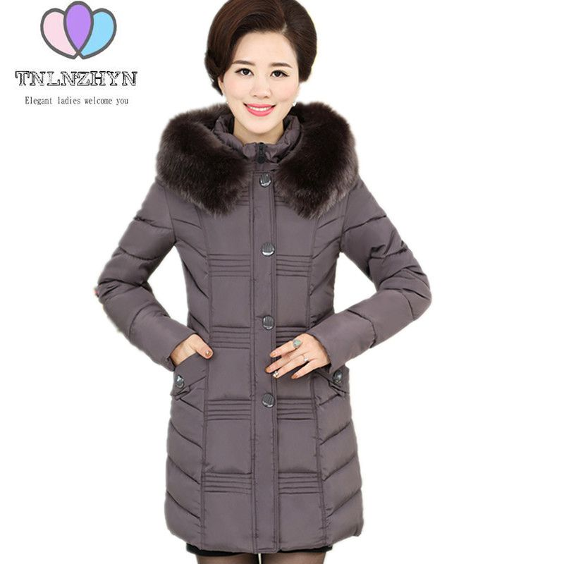 Plus size Women Winter Jacket Coats 2018 Middle-aged Warm Cotton Down Jacket Hooded collar Thicken Solid color Cotton Clothes new winter women s down cotton coats fashion solid color hooded fur collar bread jacket plus size thick warm outerwear okxgnz860