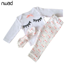 NWAD Newborn Baby Girl Summer Clothes Set eyelash print Bow tie Baby Clothes Girl Outfit Tops+Pant+Headband 3pcs sets FF223