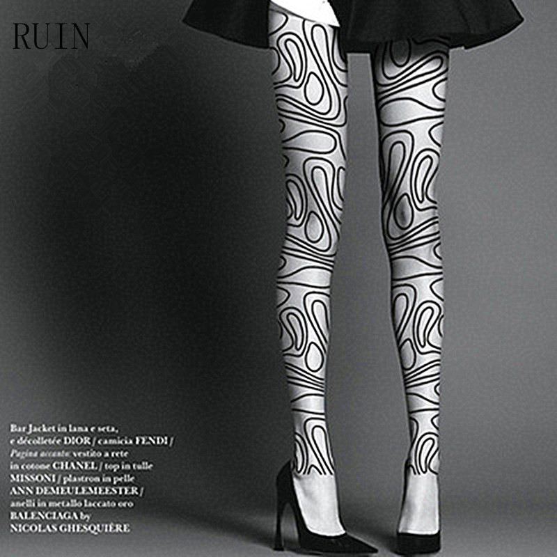 Women's Stockings Female Stockings Girl And Lady Stockings Classic Lines Printing Stockings