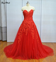 Real Photo Ball Gown Red Sweetheart Sweep Train Tulle Formal Prom Dresses 2018 Custom Made Quinceanera Dresses
